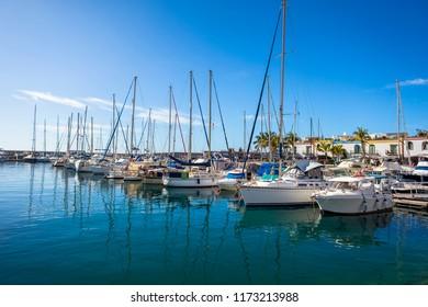 Marina of Puerto de Mogan, a small fishing port on Gran Canaria, Spain.