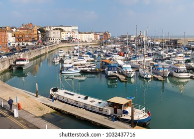 The marina of the Royal Harbour of Ramsgate, Kent, UK. The town has one of the largest marinas on the English  south coast. It  was given its royal status by King George IV
