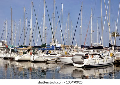 Marina of Saint-Cyprien in France, commune in the Pyr�©n�©es-Orientales department, Languedoc-Roussillon region, in southern France.