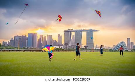 Marina, Singapore - 2018 March, 18: Singaporeans flying a kite on weekend at Marina Barrage Singapore