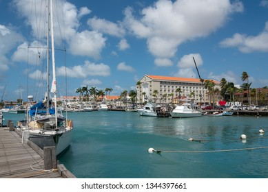 Marina with sports boats and recreation in the port of Oranjestad. A place surrounded by shops, restaurants and other recreational areas. Oranjestad. Aruba February 23, 2019