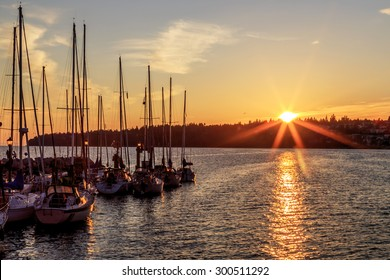 Marina at sunset, White Rock, Surrey, BC, Canada