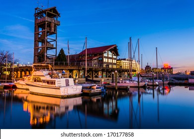 Marina at twilight, in Harbor East, Baltimore, Maryland.