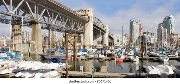 Marina Under the Burrad Bridge in Granville Island in Vancouver BC Canada