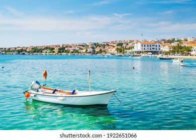 Marina and waterfront in town of Novalja on the island of Pag, Croatia