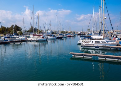 Marina, yacht club on a clear sunny day. Larnaca, Cyprus at spring.