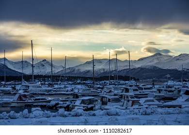 Marina yacht harbor sunset arctic circle
