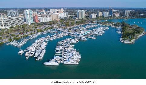 Marina Yachts Docked Downtown Sarasota Florida Marina Jack Drone