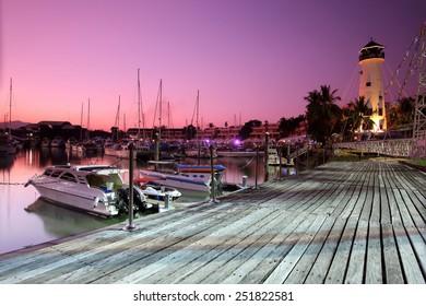 Marina with yachts sunset in phuket