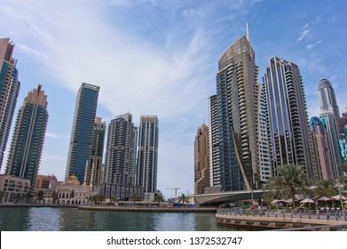 Marina,Dubai,UAE - April 5 2019 : Dubai Marina in a summer day, UAE