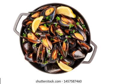 Marinara mussels, isolated with a clipping path on a white background. Moules mariniere cooked in a pan, top shot