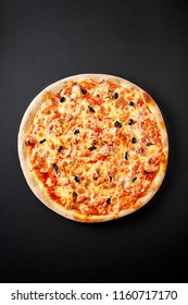 Marinara pizza .Hot pizza on black background for lunch or dinner crust. Pizza menu.