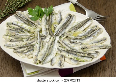 Marinated anchovies in vinegar and olive oil