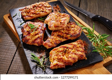 Marinated boneless tender pork chops, close up