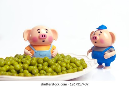 Marinated green peas. The pig stands in a plate of green peas. Gluttony. Concept symbolizing Christmas weight gain from eating too much food. Diet. Canned peas. Canned green peas.