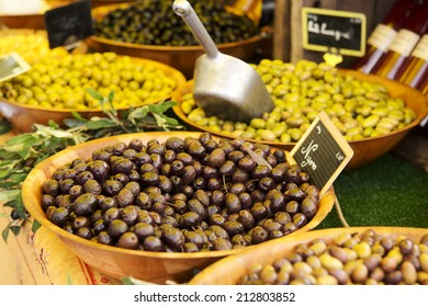 Marinated olives in a local market in France