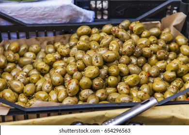 Marinated olives on a market counter in the Mediterranean city