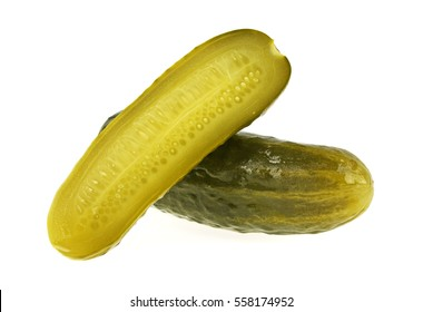 Marinated pickled cucumber isolated on white background