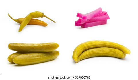 Marinated Pickled Cucumbers , Pickled Turnips, Wild Cucumber pickles, Hot pepper, Isolated on white background