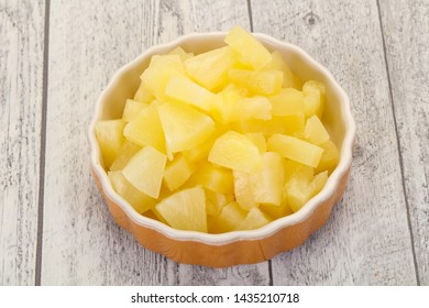 Marinated pineapple pieces in the bowl