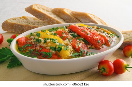 marinated roasted bell peppers with bread