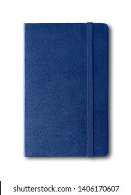 Marine blue closed notebook mockup isolated on white