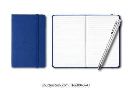 Marine blue closed and open lined notebooks with a pen isolated on white - Shutterstock ID 1668040747