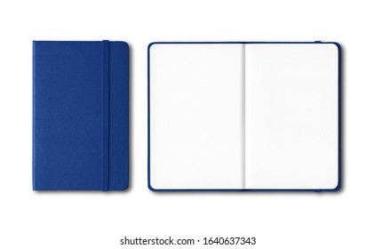 Marine blue closed and open notebooks mockup isolated on white - Shutterstock ID 1640637343