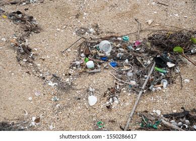 Marine debris or marine litter on the beach Thailand