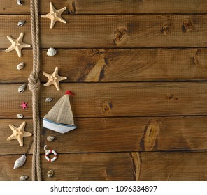 Marine decoration on a vintage background