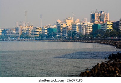 Marine Drive. Mumbai- The iconic C shaped stretch of road in Mumbai, located by the seaside. It is one of the most visited places in Mumbai city (Maharashtra state, India)