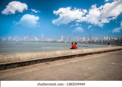 Marine Drive - quay Mumbai (Bombay). It has a crescent shape. India
