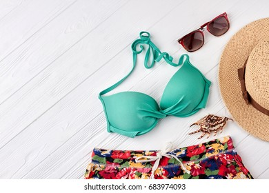 Marine fashion style set. Set of women beach accessories.