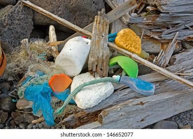 Marine garbage washed ashore in western Iceland