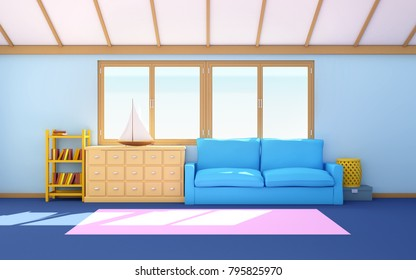 Marine house blue interior, living room. 3d illustration