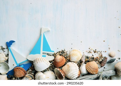 marine items, background for text ,summer theme