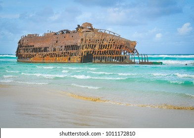 Marine landscape with the shipwreck of Cabo Santa Maria on the island of Boa Vista, Cape Verde, Africa