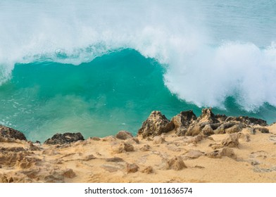 Marine landscape with volcanic rocks in Cape Verde, Africa