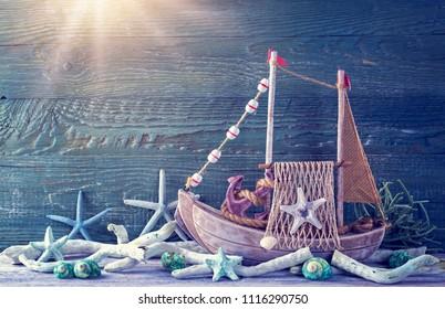 Marine life decoration on a blue shabby background