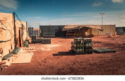 Marine military camp, nobody, anywhere in the world