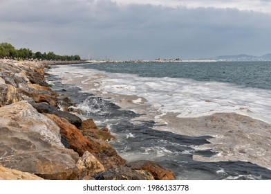 Marine mucilage, sometimes referred to as sea snot due to its viscous texture in Istanbul remains a dire threat for the Marmara Sea. TURKEY - Shutterstock ID 1986133778