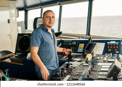 Marine navigational officer or chief mate on navigation watch on ship or vessel