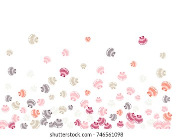 Marine or oceanic pearl scallop, mollusk cockleshell design. Image sea shell pattern banner illustration. Bivalve conch, sea shell or shellfish pattern. Seashell colorful image isolated on white.