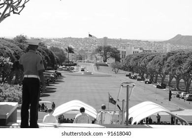Marine overlooking Punchbowl Cemetery on ANZAC Day, Australian Flags, National Cemetery of the Pacific, Honolulu, Hawaii