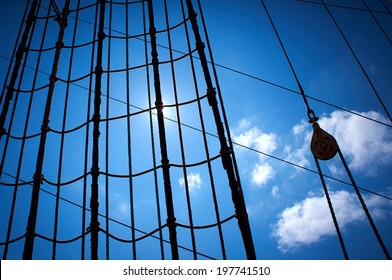 Marine rope ladder at sailboat. Ladder upstairs on the mast.