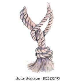 Marine rope for your design and decor. Sea knot made of rope. Watercolor illustration.