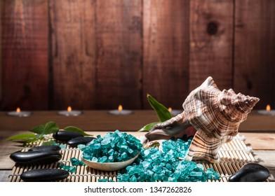 marine salt and seashell