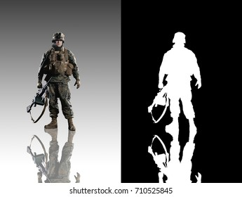 Marine soldier. Studio shooting. With alpha channel. Frontal pose. with reflections. isolated.