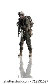 Marine soldier. Studio shooting. Frontal pose. With reflections. Isolated on white. With alpha channel - in my gallery.