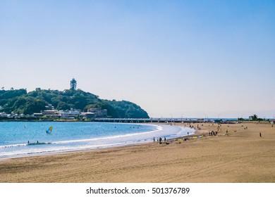 Marine Sports at Enoshima Katase Beach in Shonan Area, Kamakura City, Kanagawa Prefecture, Japan. Enoshima is a tourist destination representing Shonan and is crowded with tourists throughout the year